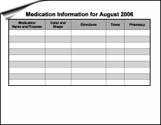 medication schedule chart printable