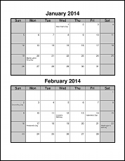 Be dependable write it down on a for Double month calendar template